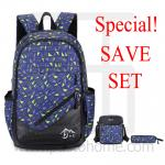 Laptop Notebook Backpack, Graphics Design, Set 3, Blue-Yellow