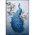 ชุดภาพติดคริสตัลกลม ลายนกยูงสีน้ำเงิน งานติดเต็มภาพ ขนาด 30*40 ซม. คริสตัลกลม 30 สี อุปกรณ์ครบชุด