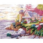 """MG526 ภาพระบายสีตามตัวเลข """"บ้านประภาคารริมทะเล"""""""