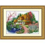 ชุดปักครอสติช ลายบ้านใหญ่ในสวนสวย ขนาด 80*50 ซม.ผ้าครอสติช 11CTพิมพ์ลายปักบนผ้า ไหมคอตตอน 49 สี ผังลาย เข็ม