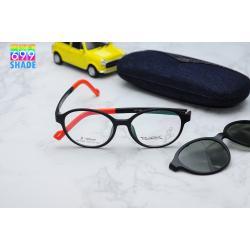 (แว่นคลิปออนเด็ก) Zupio 1303 กรอบสีดำ พร้อมคลิปออนเทาเขียว Polarized