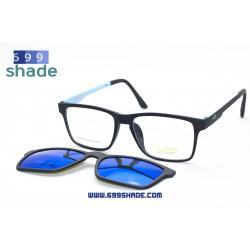 [LD7016 ดำฟ้า-ปรอทฟ้า] กรอบแว่นคลิปออนแม่เเหล็ก