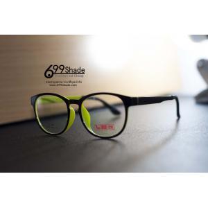 [J8034] Ultem แว่นกลมใหญ่ สีเขียวเลม่อน ดำ พลาสติก