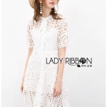 🎀 Lady Ribbon's Made 🎀 Lady Pauline Preppy Chic White Guipure Lace Shirt Dress