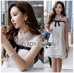 🎀 Lady Ribbon's Made 🎀 Lady Rika Feminine Pearl Embellished White Lace Dress