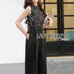 🎀 Lady Ribbon's Made 🎀Lady Penelope Smart Casual Black Lace and Crepe Jumpsuit