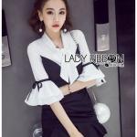🎀 Lady Ribbon's Made 🎀 Lady Angelica Feminine Chic Big Ribbon Black and White Dress