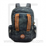 Jeans Denim Backpack, Vintage Style, High Quality, Color 2 lines, Genuine Brand