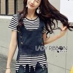 🎀 Lady Ribbon's Made 🎀Lady Cindy Striped T-Shirt and Denim Tank Set