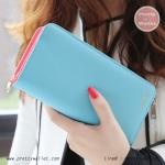 กระเป๋าสตางค์ ใบยาว สีฟ้า รุ่น Beauty KQueenStar