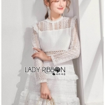 เสื้อผ้าแฟชั่นเกาหลี Lady Ribbon Thailand Lady Ribbon's Made Lady Evelyn Frilled & Ruffle Pastel Lace Dress