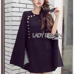 🎀 Lady Ribbon's Made 🎀 Lady Viola Button Embellished Cape Dress