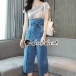 Seoul Secret Say's... Nifty Cami Bib Dinin Stripe T-Shirt Set
