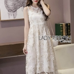 🎀 Lady Ribbon's Made 🎀 Lady Amanda Pure White and Gold Flower Embroidered Tulle Dress