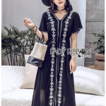 🎀 Lady Ribbon's Made 🎀 Lady Ivy Hippie Beachy Embroidered Chiffon Maxi Dress