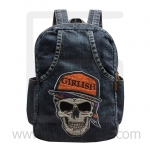 Jeans Denim Backpack, Skull embroidery, Vintage style, High Quality, Genuine Brand