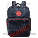 Jeans Denim Backpack, Vintage Style, Big Size-Red