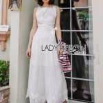 🎀 Lady Ribbon's Made 🎀 Lady Fiona Easy Casual White Cotton and Lace Jumpsuit with Ribbon