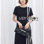 🎀 Lady Ribbon's Made 🎀 Lady Andra Plain and Striped Asymmetric Black Dress