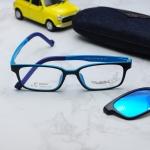 (แว่นคลิปออนเด็ก) Zupio 1301 กรอบดำฟ้า พร้อมคลิปออนปรอทฟ้า Polarized