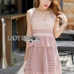 🎀 Lady Ribbon's Made 🎀 Lady Annie Sweet Sexy Heart-Shape Self Portrait Pink Lace Dress