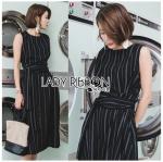 🎀 Lady Ribbon's Made 🎀 Lady Anna Smart Minimal Striped Sleeveless Dress