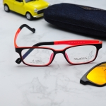(แว่นคลิปออนเด็ก) Zupio 1301 กรอบดำ/ส้ม พร้อมคลิปออนปรอทส้ม Polarized
