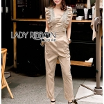 🎀 Lady Ribbon's Made 🎀 Lady Janet Ruffle Beige Gold Jumpsuit