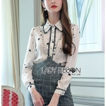 🎀 Lady Ribbon's Made 🎀 Lady Elisa Preppy Chic Star Silk Shirt and Cotton Overall