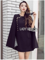 🎀 Lady Ribbon's Made 🎀 Lady Viola Button Embellished Cape Dress
