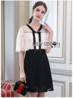 🎀 Lady Ribbon's Made 🎀 Lady Cheryl Sweet Elegant Black and White Lace Dress
