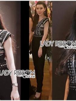 เสื้อผ้าแฟชั่นเกาหลี Lady Ribbon's Made Lady Martha Tribal Chic Crystal Embellished Black Jumpsuit