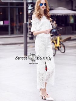 Sweet Bunny Present... Cold Shoulder Cami With Lace a Trim Pant Set