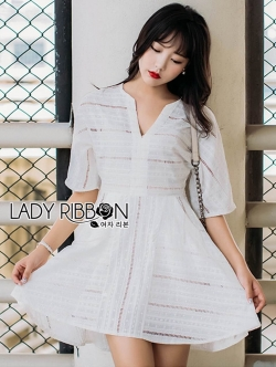 &#x1F380 Lady Ribbon's Made &#x1F380 Lady Kylie Basic Feminine Laser-Cut and Embroidered Cotton Dress