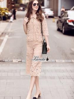Korea Design By Lavida Broochy floral lace top wide leg pants set code1772