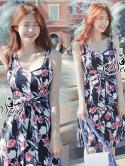 Sevy Printed Flora Hollow Shoulder Straps Sleeveless Mini Dress