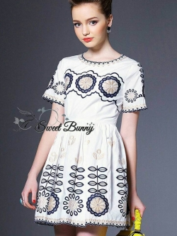 Sweet Bunny Present... Floral Embroidered dress