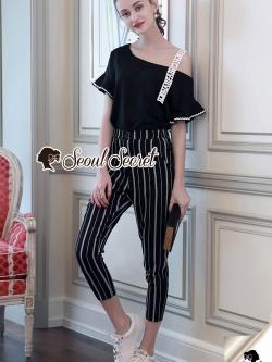 Seoul Secret Say's... Letterly Lace Line Cami Stripr Set