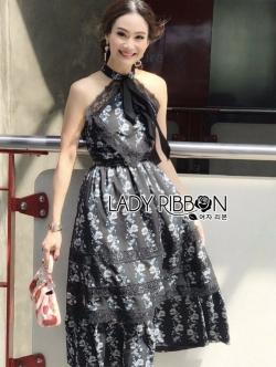 เสื้อผ้าแฟชั่นเกาหลี Lady Ribbon Thailand Lady Ribbon's Made Lady Anastasia Big Ribbon Flower Printed and Lace Dress