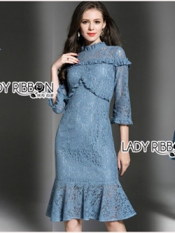 เสื้อผ้าแฟชั่นเกาหลี Lady Ribbon's Made Lady Lizzy High-Neck Ruffle Dark Blue Lace Dress