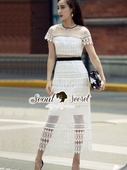 Seoul Secret Say's .... Ivory Heartly K\Lace Party Maxi Dress