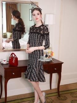 🎗🎗Korea Design Lavida Vintage stylish shoulder lace diva dress code1754