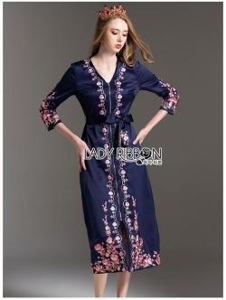เสื้อผ้าแฟชั่นเกาหลี Lady Ribbon Thailand Lady Ribbon's Made Lady Claire Modern Hippie Flower Embroidered Navy Crepe Long Dress