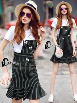 Cliona Made' Di@r Bees (bee) B&W Line Bib Skirt Set