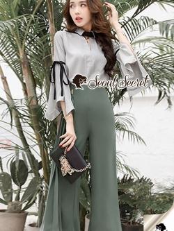 Seoul Secret Say's... Juniper Green Pants Bowwy Tie Bell Sleeve Set
