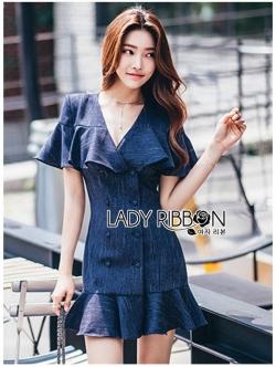 เสื้อผ้าแฟชั่นเกาหลี Lady Ribbon's Made Lady Maria Double-Breasted Ruffle Suit Cotton Dress