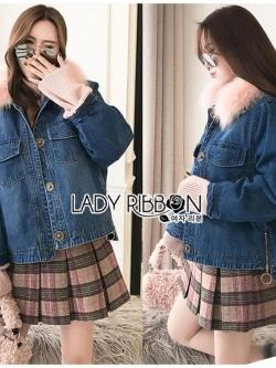 เสื้อผ้าแฟชั่นเกาหลี Lady Ribbon's Made Lady Diana Extra Fur-Collar Denim Jacket