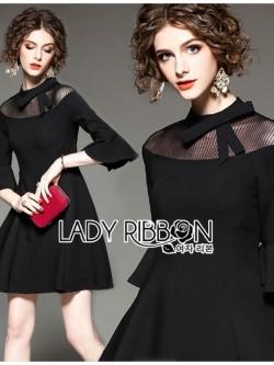 เสื้อผ้าแฟชั่นเกาหลี Lady Ribbon's Made Lady Bianca Black Ribbon Frilled Dress
