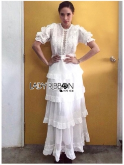 เสื้อผ้าแฟชั่นเกาหลี Lady Ribbon's Made Lady Julia Ruffle Layered White Lace Long Dress