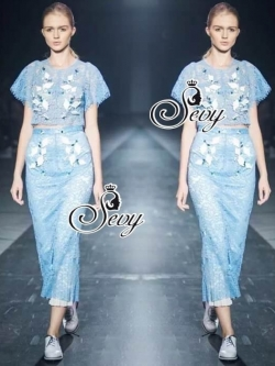 Sevy Flora Blue Lace Short Sleeve Blouse With Long Skirt Suit Sets